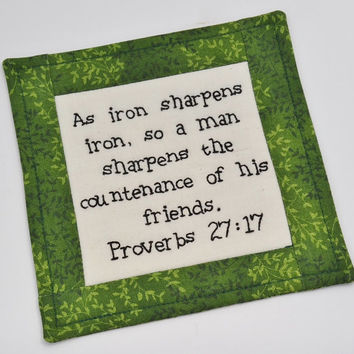 Religious Coaster - Bible Verse Mug Rug - Scripture - As Iron Sharpens Iron - Proverbs 27 - Christian Fellowship - Friends - Green Leaves