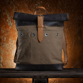 Canvas and leather backpack Roll top backpack by Kruk Garage Made of British army parachute bag Men's rucksack