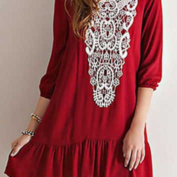 Red Lace Panel Pleat Detail Dress