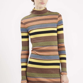 70s Stripe Roll Neck Tunic - Topshop
