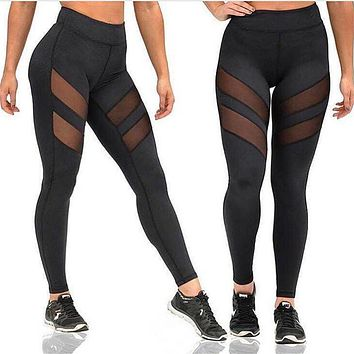 High Waist Mesh Leggings For Women Black Fitness Breathable Push Up Leggings Ladies Quick Dry Plus Size Patchwork Casual leggins