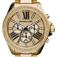 Women's Michael Kors 'Wren' Pave Dial Chronograph Bracelet Watch, 42mm - Gold