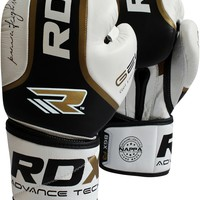 Authentic RDX Leather Ultra Gold Boxing Gloves Fight