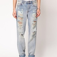 ASOS Boyfriend Jeans with Ripped Detail at asos.com