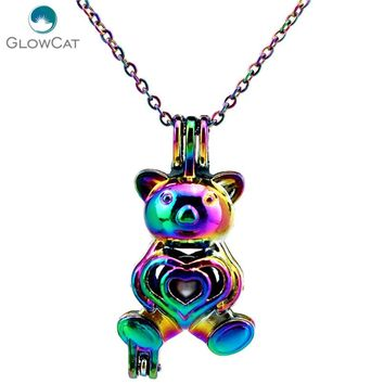 C290 COLORS Lovely Bear Beads Cage Necklace Pendant Aroma Essential Oil Diffuser Locket Necklace