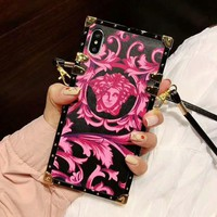VERSACE Fashion Cool iPhone Phone Cover Case For iphone 6 6s 6plus 6s-plus 7 7plus iPhone X XR XS XS MAX Rose Red