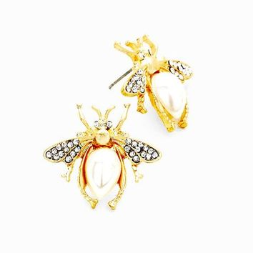Gold Black Cream Pearl Crystal Honey Bee Stud Earrings