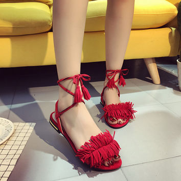 Block Heel Sandals Women Tassel Fringe Pumps High Heels Summer Casual Shoes Woman Sandalias Zapatos Mujer Chaussure Femme 2216