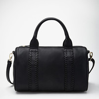 Stitched Faux Leather Satchel