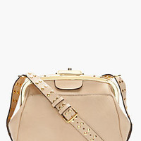 Marni Beige Studded Leather Shoulder Bag for women | SSENSE