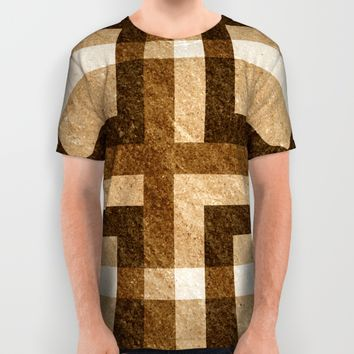 Brown Block Pixel Pattern All Over Print Shirt by Likelikes   Society6