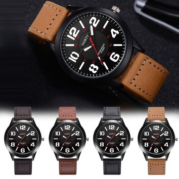 Gaiety G543 Big Number Quartz Watch with Leather Strap