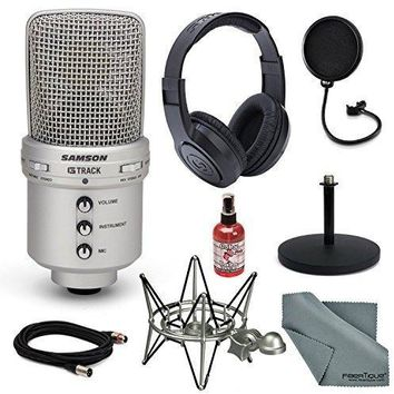 Samson G-Track USB Recording Microphone Deluxe Bundle w/Headphones + Pop Filter + Shock Mount + More