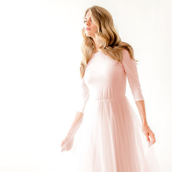 Blush pink maxi tulle dress, Bridesmaids blush maxi gown, Backless maxi pink formal dress