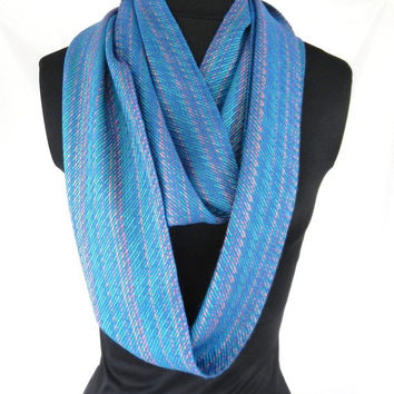 Teal Infinity Scarf, Handwoven Women's Accessory,  Bamboo Loop Scarf
