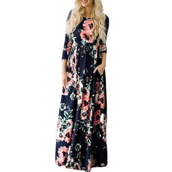 Long Maxi Dress Floral Print Boho Beach Dress Tunic Bandage Bodycon Evening Party Dress Vestidos largos mujer Plus Size