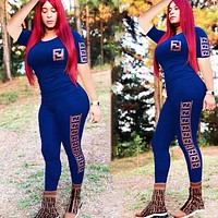Fendi Fashion New More Letter Print Sports Leisure Top And Pants Two Piece Suit Blue