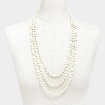 "90"" cream faux glass pearl layered long choker necklace 8mm"