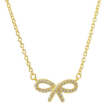 Gold Plated Sterling Silver, CZ Bow Necklace