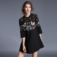 European style dresses new women's heavywork butterfly embroidery stitching lace vintage seven-point sleeve A-line dresses