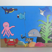 Kids Canvas Art Underwater Painting Playroom Decor -