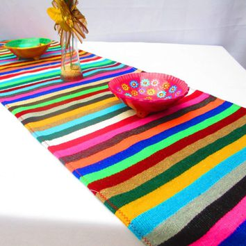 Mexican Table Runner, Serape Fabric runner from Mexico - Multi color stripe