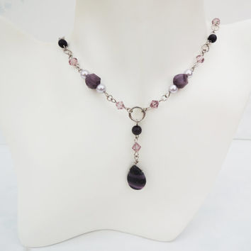 Purple and Silver Statement Necklace Handmade by Lindsey - Swarovski Crystal Pearls - Lavender - Silver - Purple Jasper
