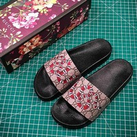 Gucci GG Supreme Tiger Slide Sandals #2  - Best Online Sale