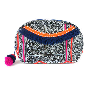 Hmong Batik Makeup Bag Indigo