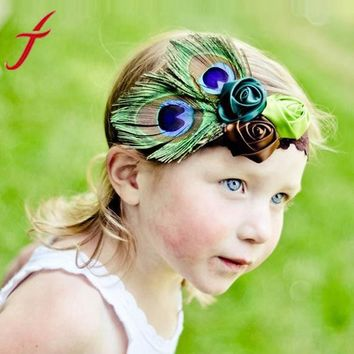 Rose Flower Peacock Feather Headband