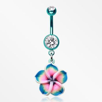 Colorline Hawaiian Plumeria Flower Belly Button Ring