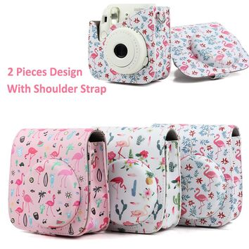 Beautiful Flamingo Pattern Carrying Case For Fujifilm Instax Mini Instant Camera