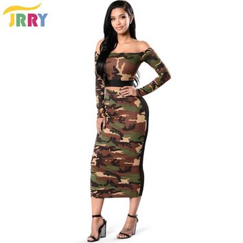 JRRY Casual Off the Shoulder Two Pieces Women Camouflage Dresses Long Sleeve Slash Neck Crop Top Summer Print Dress Vestidos