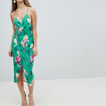ASOS DESIGN Petite slinky floral cami drape midi dress at asos.com