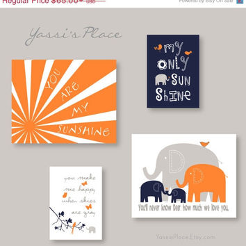 ON SALE Boy Decor You Are My Sunshine Orange Navy and Gray Nursery Art - Brothers elephant Wall Art - YassisPlace, Frames NOT included! Es3E