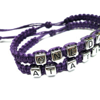 One Day At A Time Bracelet Set, Dark Purple Hemp Jewelry, Recovery Bracelets