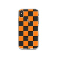 DistinctInk® Clear Shockproof Hybrid Case for Apple iPhone / Samsung Galaxy / Google Pixel - Tennessee Checkerboard - Orange, Clear
