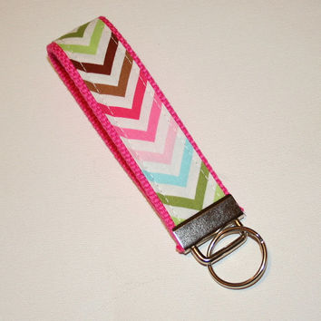 Chevron Key FOB / KeyChain / Wristlet -Remix Chevron- Pink Lime - Zig Zag zigzag on PINK