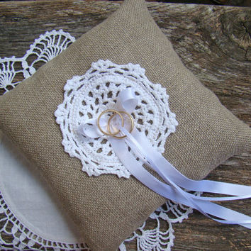 Rustic Ring Bearer Pillow, Wedding Ring Cushion, Ring Bearer, Linen Burlap, White Doily and Ribbons