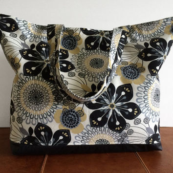 Tote Bag, Beach Bag, Handbag, Overnight Bag, Weekend Bag, Floral Bag, Fabric Tote Bag, Gift For Her