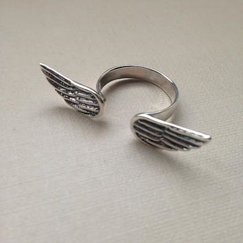 Sterling Silver Angel Wing Ring, Angel Wing Ring,  Adjustable Ring, Sterling Silver Ring, Geometric Ring, Silver Jewelry, Adjustable Ring