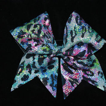 Leopard print pastel cheer bow