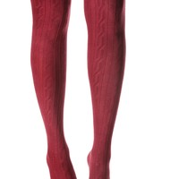 Burgundy Kickin It Thigh High Socks