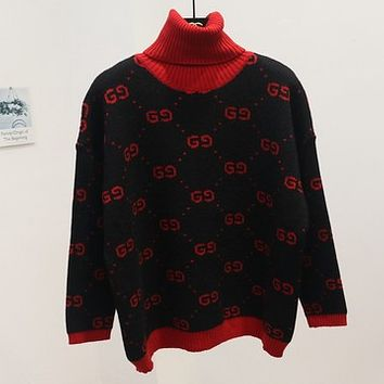 GUCCI new autumn and winter joker sweater female high collar double g letter sweater Black (red collar)