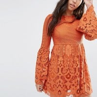 Boohoo Scalloped Lace Fit And Flare Dress at asos.com