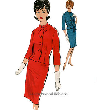 60s JACKET & SKIRT SUIT Pattern Jackie Kennedy Style Jewel Neck, Jacket Bust 32 Size 12 Sew-Easy Advance 3024 UNCuT Vintage Sewing Patterns