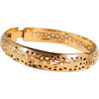 Gorgeous filigree solid gold bracelet, stamped 18K solid cuff, bangle bracelet, security clasp
