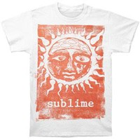 Sublime Men's  Orange Sun Glow Slim Fit T-shirt White