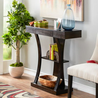 Stylish Console Table With Hidden Drawer Living Room Furniture Espresso Finish