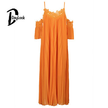 DayLook 2016 Women Dress Orange Ruched Puff Crochet Lace Cold Shoulder Open Back Loose Pleated Beach Maxi Dress Plus Size S-L